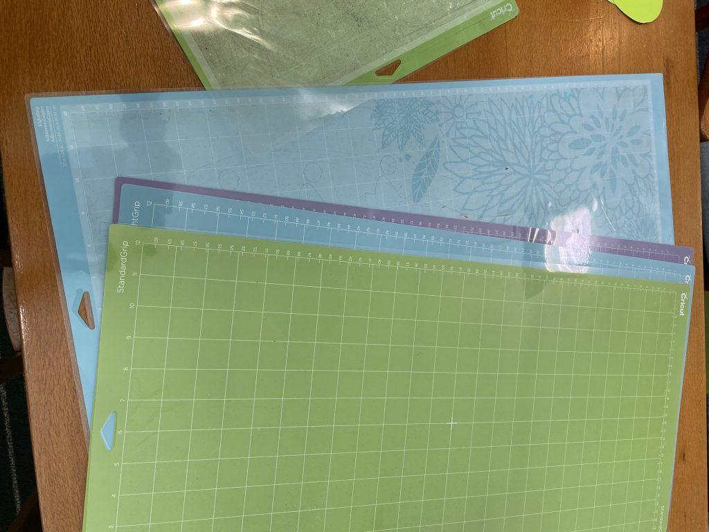 Cricut mats in green and blue