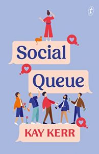 Social Queue book cover - light purple background, title and with girl standing above other people