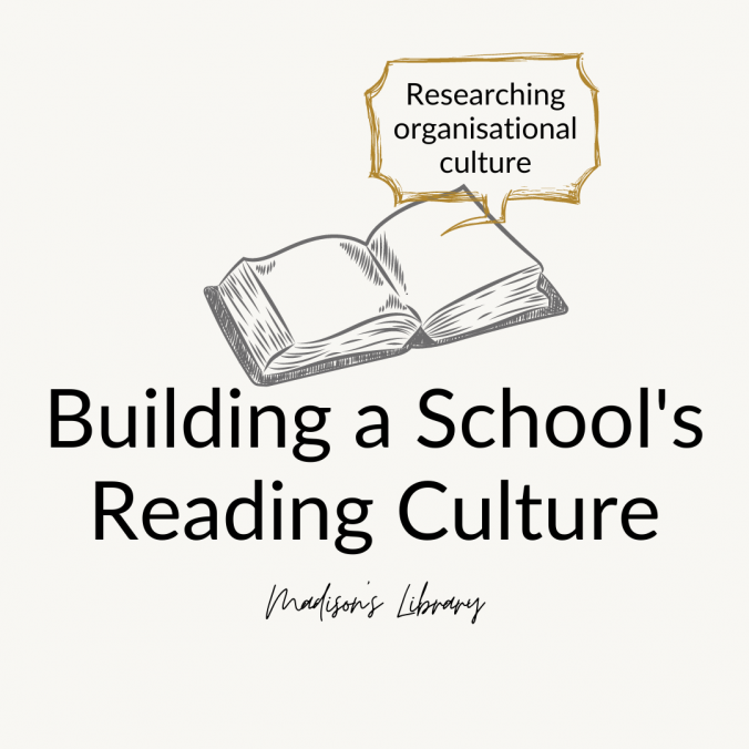 Book with text Building a school's reading culture.