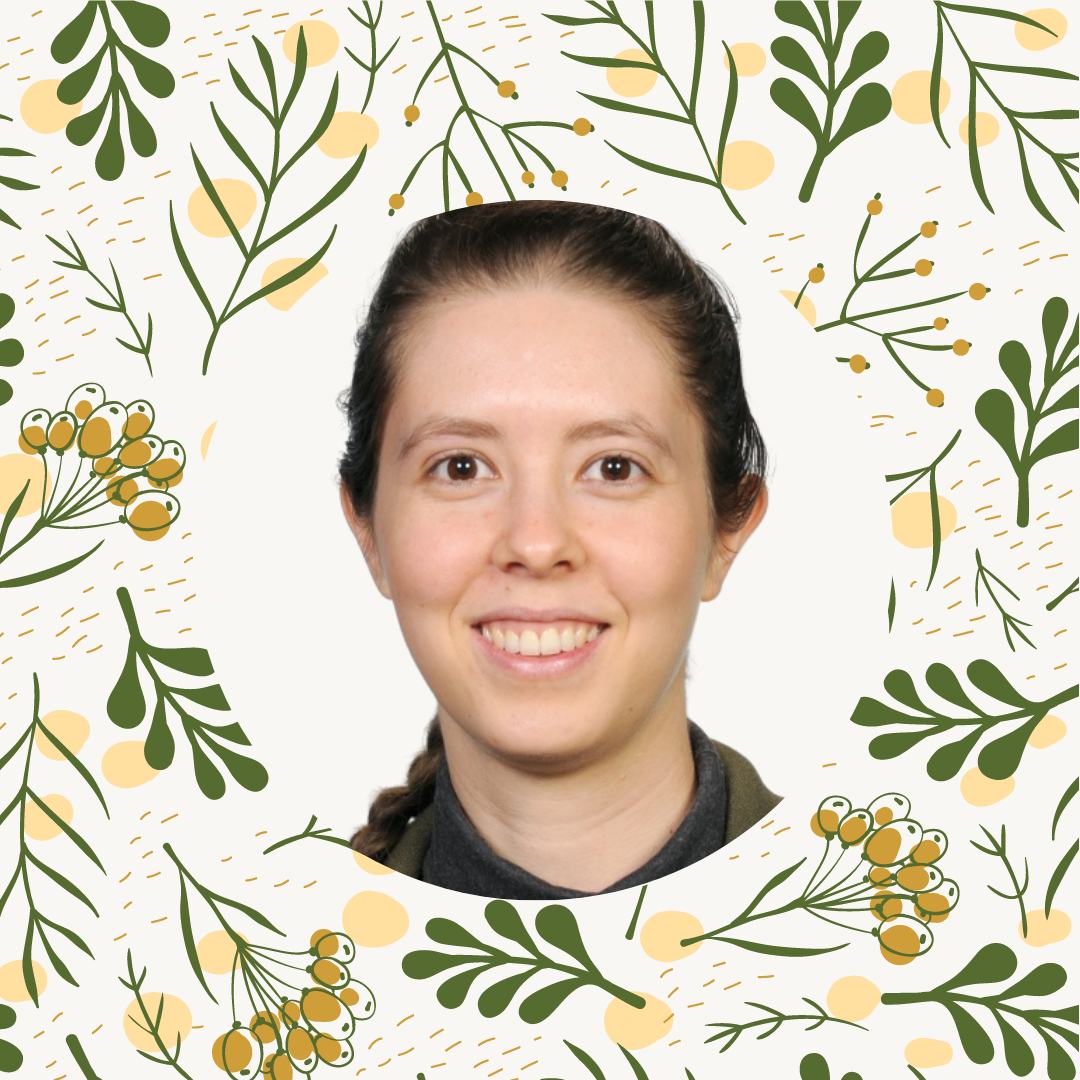 Floral background with headshot